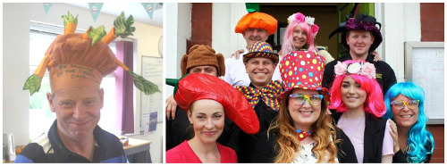 The winner of the best individual hat (left) wearing a carrot-themed hat, and the team from Pesto (left) wearing their best headgear as winners of the best group photo