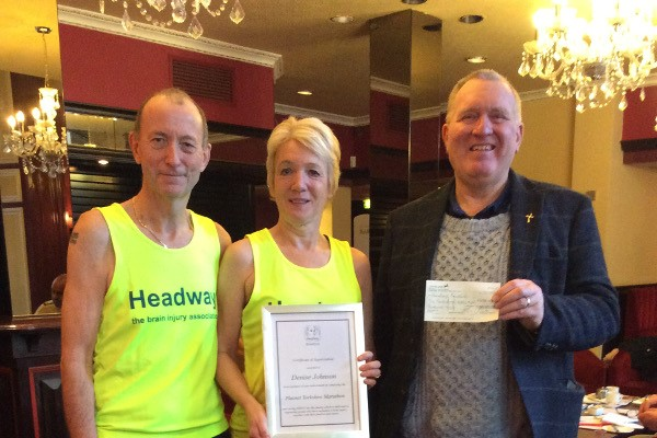 Denise Johnson and Don after completing the Yorkshire Marathon for Headway Bradford