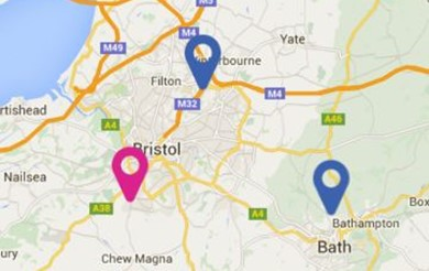 A clip of the supporting you map, focusing on Bristol
