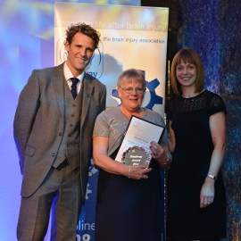 Terisa Burge collects her award from James Cracknell and a representative of award sponsor Anthony Gold