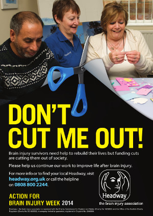 The campaign poster features an image of three people with scissors illustrating cutting one out. The heading 'Don't cut me out!' appears in bold yellow text below.