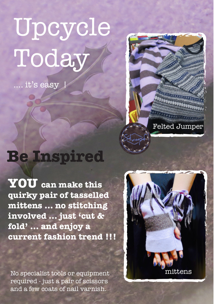 Our mittens upcycling project shows you how to turn an old jumper into some stylish mittens