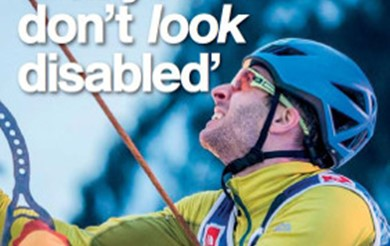 The cover of Headway News features Dave Bowes climbing with the headline 'But you don't look disabled'