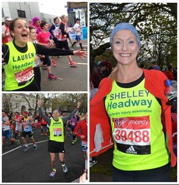 Marathon runners celebrate their achievements
