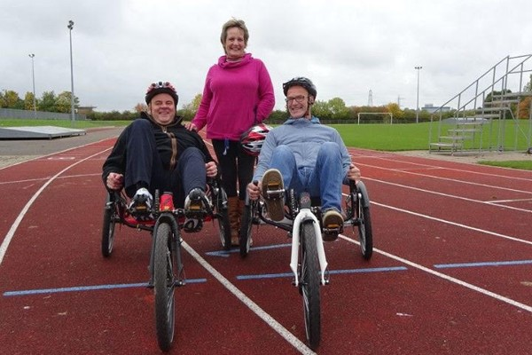 Jean helps Headway Darlington and District members train using adapted bikes