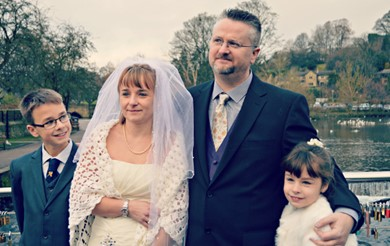 Andy Nicholson and family at their wedding day