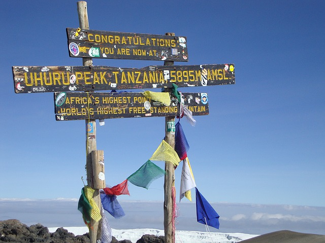 The summit of Mount Kilimanjaro, showing the 'Congratulations you are now at Uhuru Peak Tanzania' sign. Image free from Pixabay.com