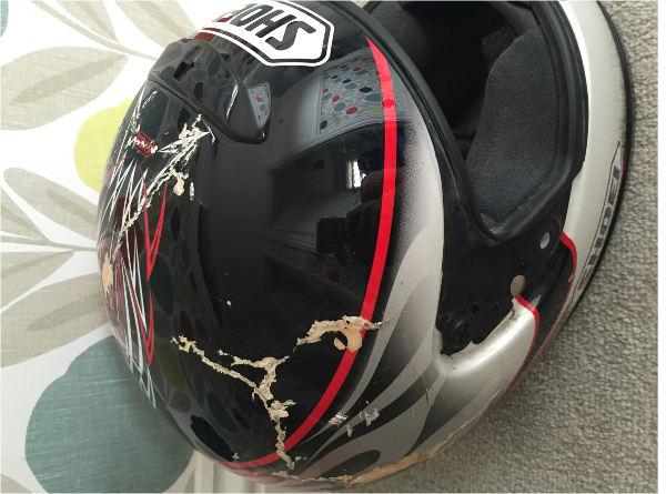 Warren's damaged helmet