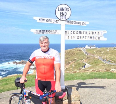 Headway Hero Mick cycles Lands End to John O'Groats Main Image