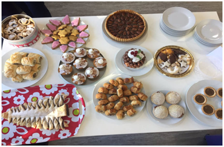 A tray of creative mince pie-based creations from Lester Aldridge Solicitors