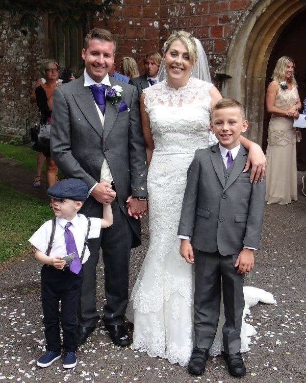 Mark and Eleanor Simcox (l-r, top) with their two sons on their wedding day.