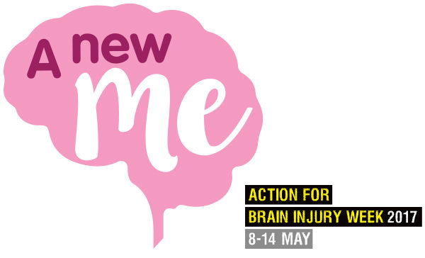 The pink 'A New Me' brain logo, with our Action for Brain Injury Week 2017, 8-14 May logo to the right.