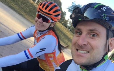 Matt back on his bike with Nikki after crash