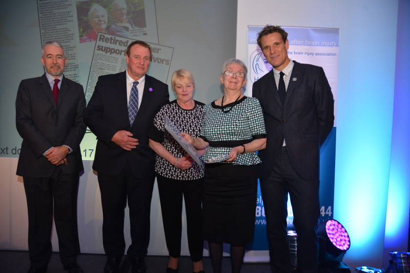 Pauline Watson collects her Headway Stephen McAleese Outstanding Contribution to Headway Award