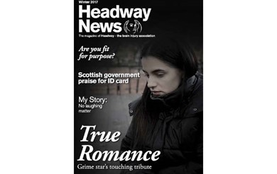 Headway News winter 2017 features an image of grime star Asher X, whose song True Romance is a touching tribute after her partner's brain injury