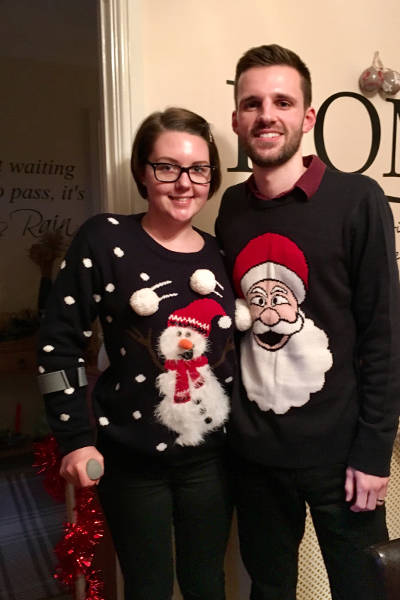 Keely and her husband enjoying their first Christmas following her accident.