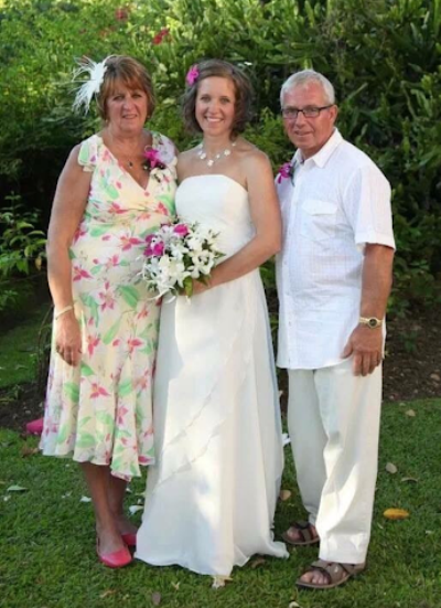 Jules with her mum and dad at her Barbadoes wedding in 2010