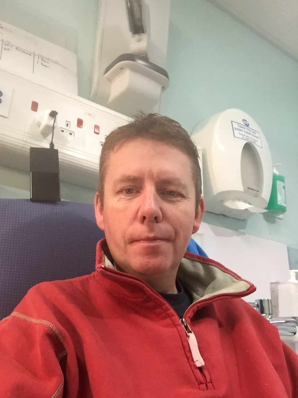 Rod Maxwell during his stay at Salford Royal Hospital
