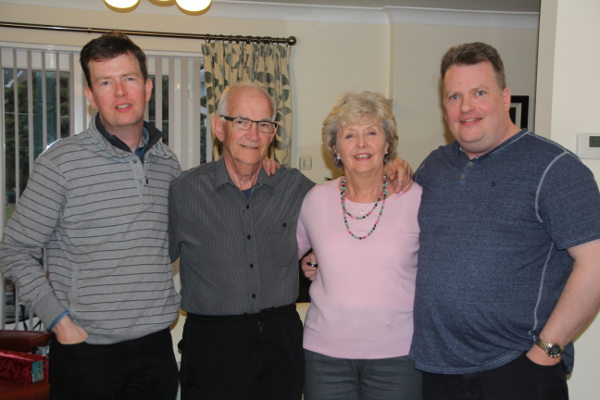 Giles with his dad Ron, his mum Gwen and his brother Brent.