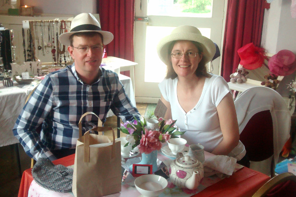 Giles and his wife Helen at the Headway Darlington and District Tea Party 2015.