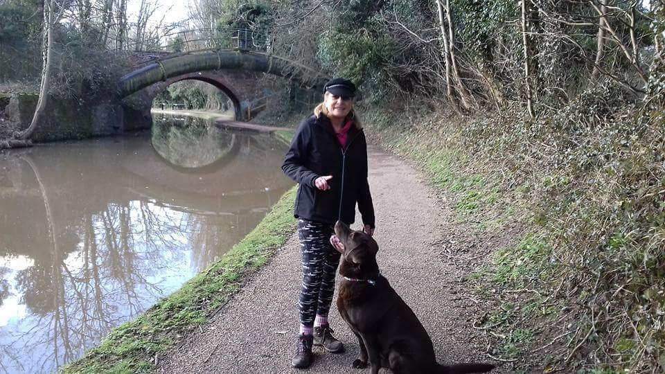 Lynne with her dog Charley