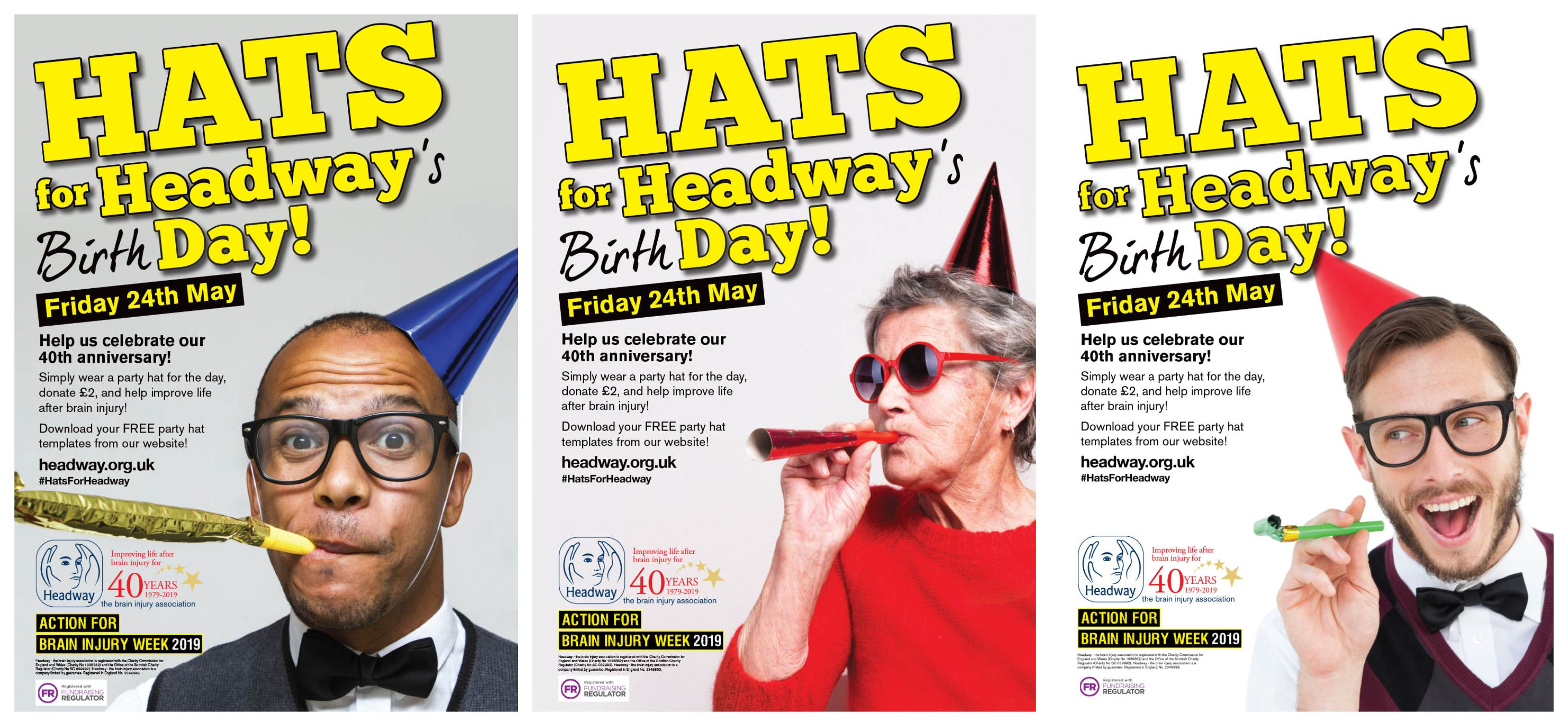 Hats for Headway's Birthday posters