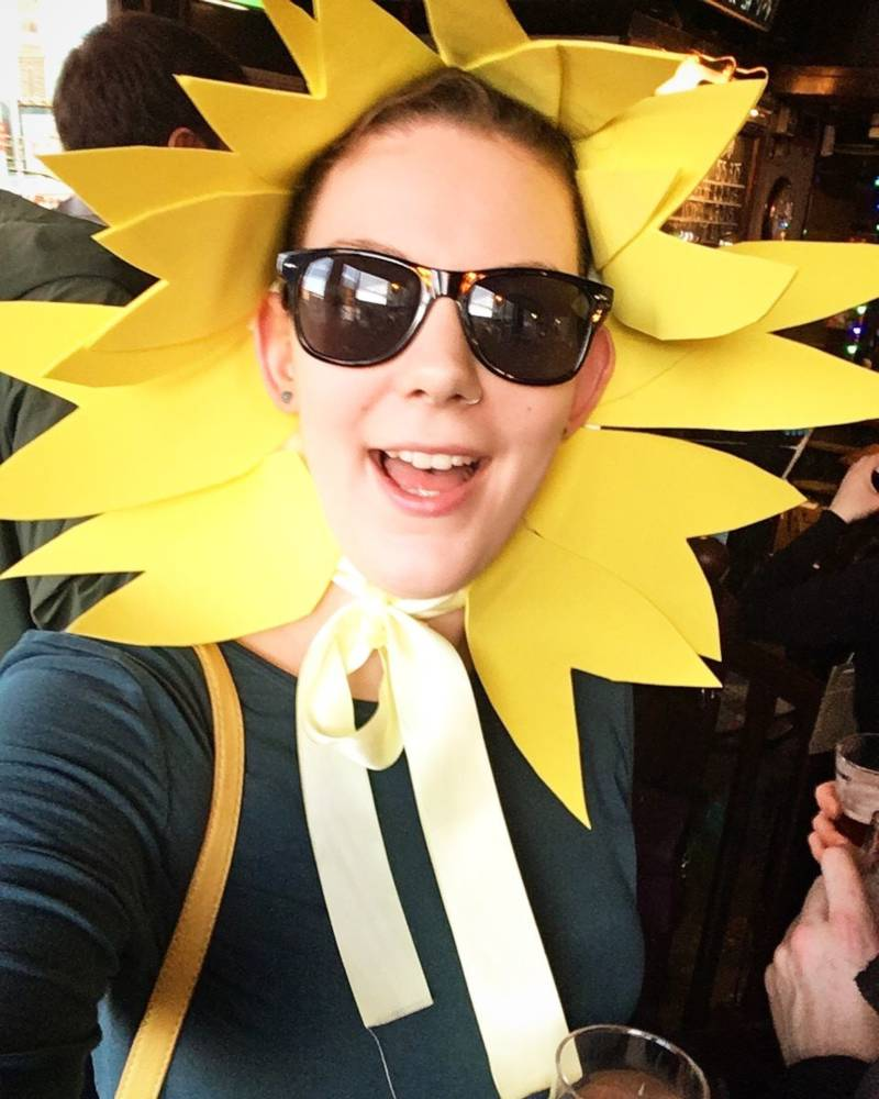 Naomi dressed as a sunflower