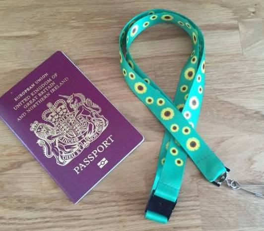 passport and sunflower lanyard
