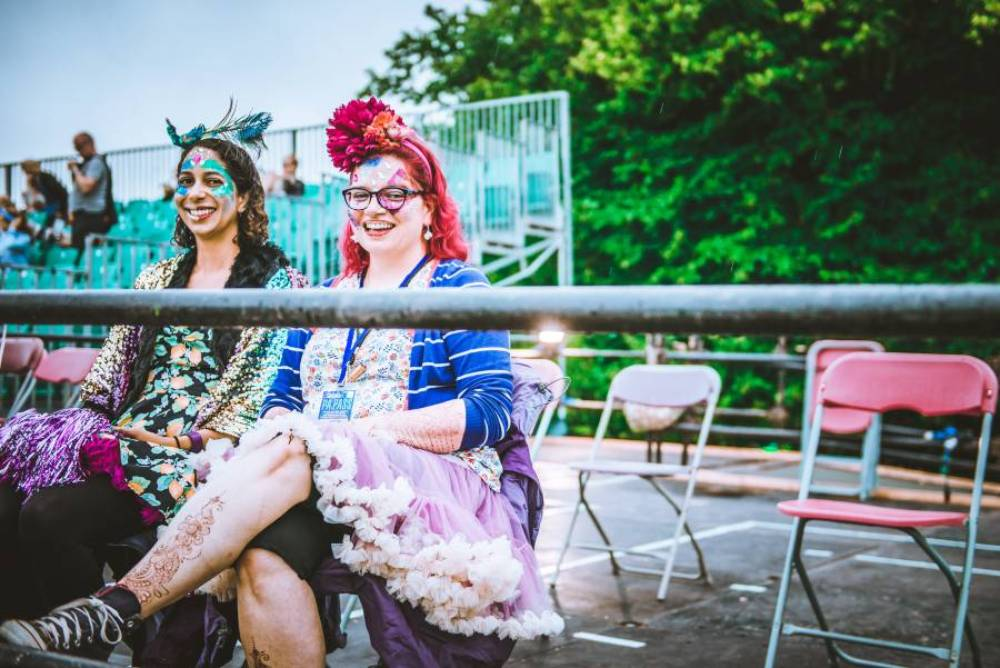 Festival-goers at Latitude enjoying the viewing platform (photo credit: Sarah Koury)