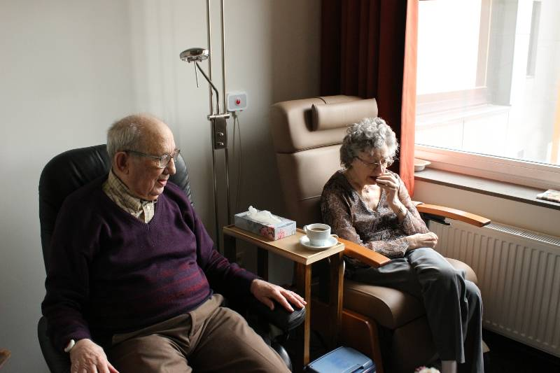 elderly couple in hospital