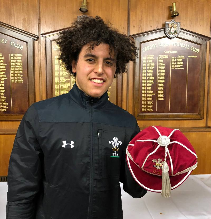 Ed with his first U18 cap for Wales