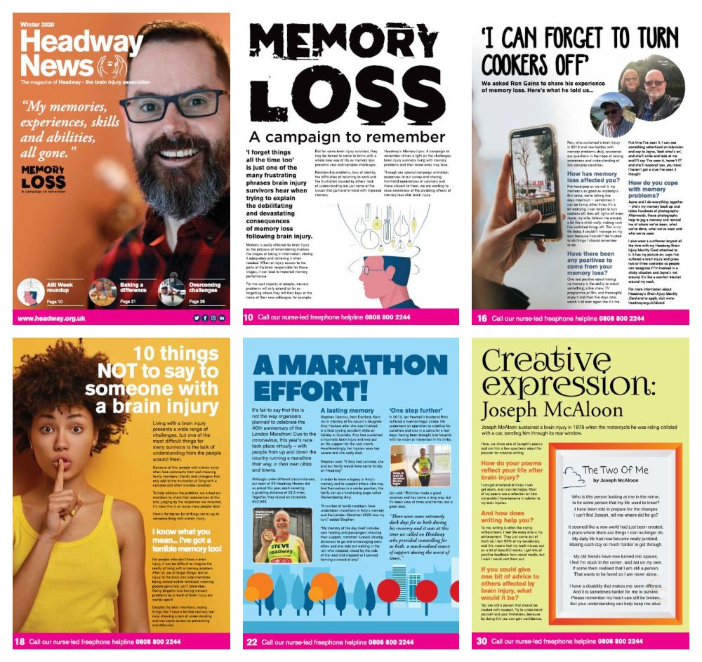 Collage of highlighted pages from Headway News winter 2020. The cover features a picture of brain injury survivor Karl Hargreaves with the quote: 'My memories, experiences, skills and abilities all gone'